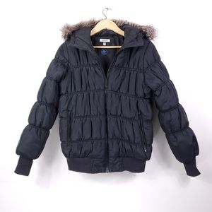 Adidas Black + Faux Fur Quilted Puffer Coat